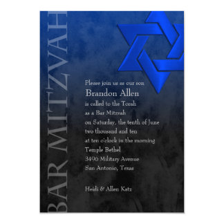 """Estrella azul elegante de Mitzvah de la barra de Invitación 5"""" X 7"""""""