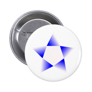 Estrella azul que gira pin redondo de 2 pulgadas