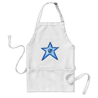 Estrella azul sonriente del centelleo delantal
