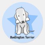 Estrella Bedlington Terrier de Kawaii Pegatinas Redondas
