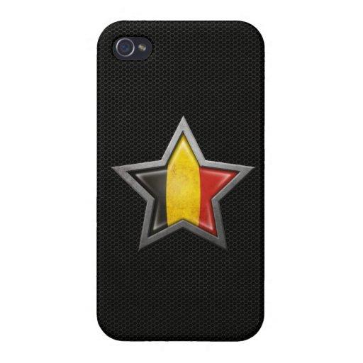 Estrella belga de la bandera con el efecto de acer iPhone 4/4S funda
