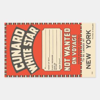Estrella blanca de Cunard (a Nueva York) Pegatina Rectangular