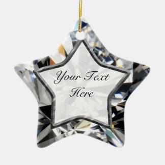 Estrella blanca de la gema adorno navideño de cerámica en forma de estrella
