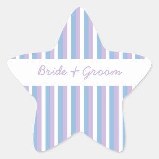 Estrella blanca del boda de la lila de las rayas pegatina en forma de estrella