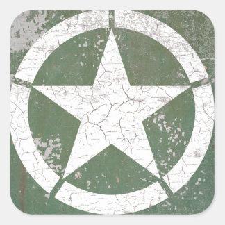 Estrella blanca Roundel del círculo rústico Pegatina Cuadrada