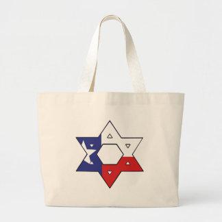 Estrella blanca y azul roja bolsa tela grande