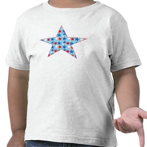Estrella blanca y azul roja de estrellas camiseta