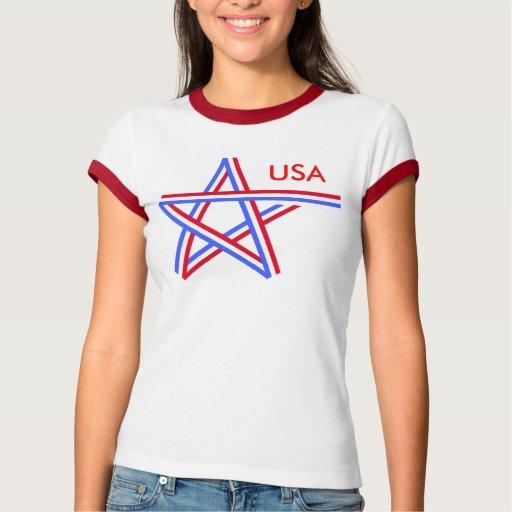 Estrella blanca y azul roja playeras