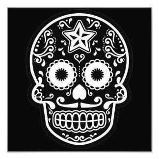 Estrella blanco y negro del cráneo del azúcar fotografía