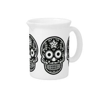 Estrella blanco y negro del cráneo del azúcar jarra de beber