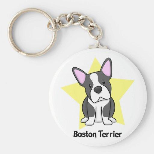 Estrella Boston Terrier de Kawaii Llavero Personalizado