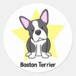 Estrella Boston Terrier de Kawaii Pegatina Redonda