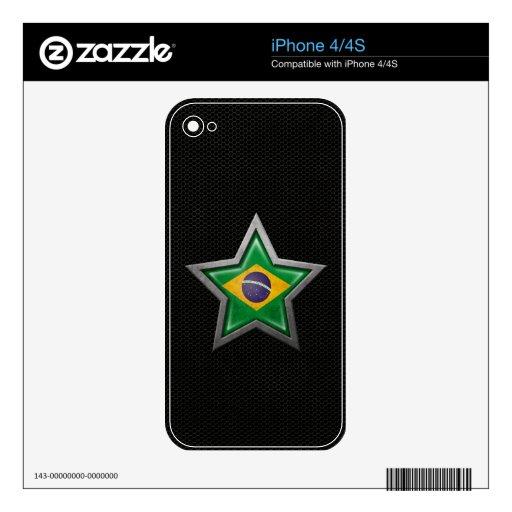 Estrella brasileña de la bandera con el efecto de  skin para el iPhone 4