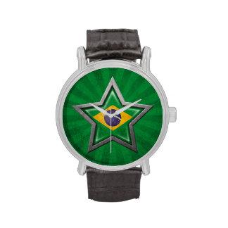 Estrella brasileña de la bandera con los rayos de  relojes de mano
