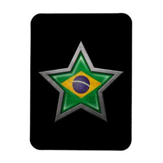 Estrella brasileña de la bandera en negro iman de vinilo