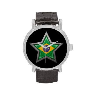 Estrella brasileña de la bandera en negro relojes de mano