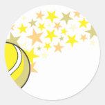 Estrella brillante de la pelota de tenis pegatinas redondas