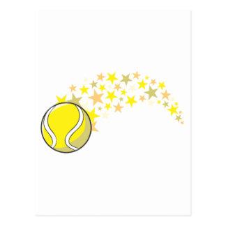 Estrella brillante de la pelota de tenis postal