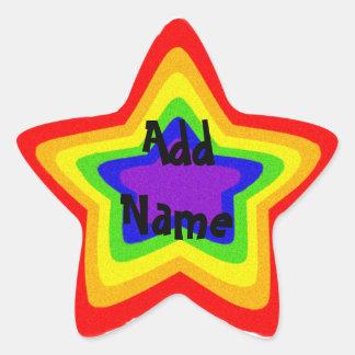 Estrella brillante del arco iris calcomania forma de estrella personalizada