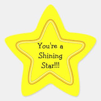 Estrella brillante pegatina en forma de estrella