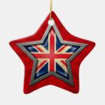 Estrella británica de la bandera con los rayos de  ornamentos para reyes magos