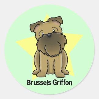 Estrella Bruselas Griffon de Kawaii Pegatinas Redondas