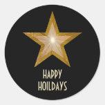 """Estrella """"buenas fiestas"""" negro redondo del oro pegatinas redondas"""