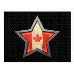 Estrella canadiense de la bandera con el efecto de tarjeta postal