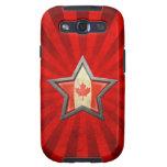 Estrella canadiense de la bandera con los rayos de samsung galaxy s3 cobertura