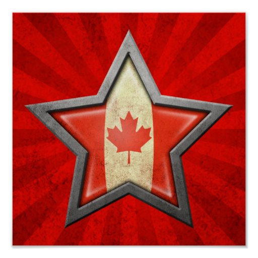Estrella canadiense de la bandera con los rayos de poster
