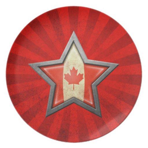 Estrella canadiense de la bandera con los rayos de plato de cena