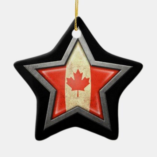 Estrella canadiense de la bandera en negro adorno de cerámica en forma de estrella