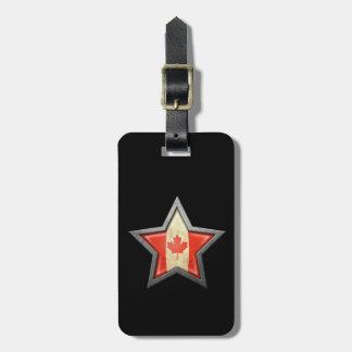 Estrella canadiense de la bandera en negro etiquetas maletas