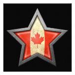 Estrella canadiense de la bandera en negro invitación