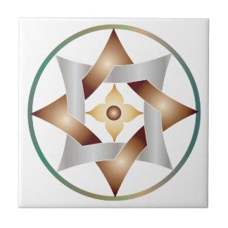 Estrella céltica del nudo en un círculo - bronce y azulejo cuadrado pequeño