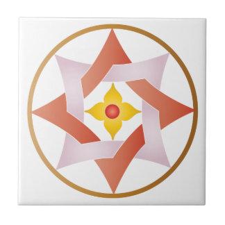 Estrella céltica del nudo en un círculo - naranja azulejo cuadrado pequeño