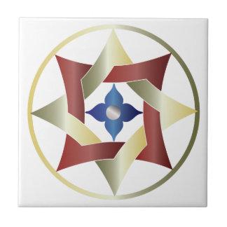 Estrella céltica del nudo en un círculo - rojo, azulejo cuadrado pequeño