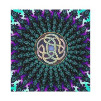 Estrella céltica metálica del fractal del nudo del impresión en lona