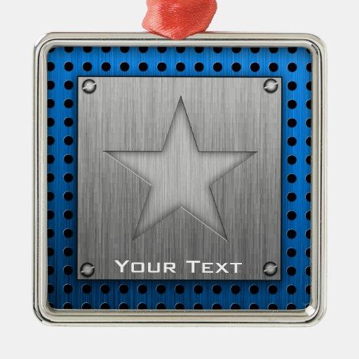 Estrella cepillada de la Metal-mirada Adorno Cuadrado Plateado
