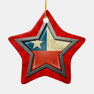 Estrella chilena de la bandera con los rayos de la adorno de cerámica en forma de estrella