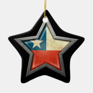 Estrella chilena de la bandera en negro adorno de cerámica en forma de estrella