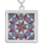 Estrella-Collar floral Colgante Cuadrado