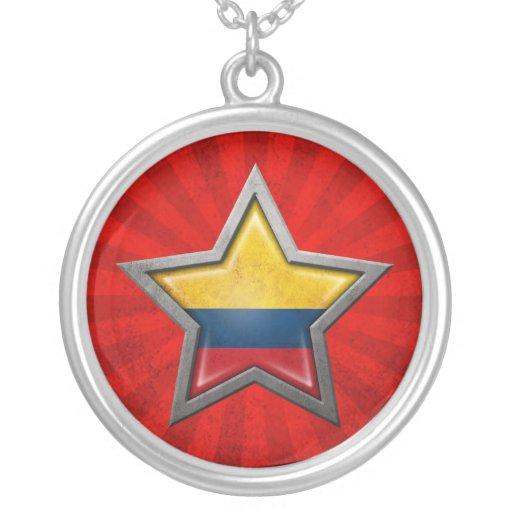 Estrella colombiana de la bandera con los rayos de pendiente