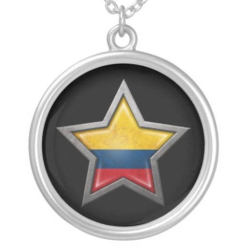 Estrella colombiana de la bandera en negro joyerías