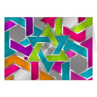 Estrella coloreada multi de Mitzvah del palo de Tarjeta Pequeña