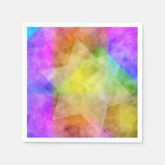 Estrella colorida vibrante de la acuarela de servilletas desechables