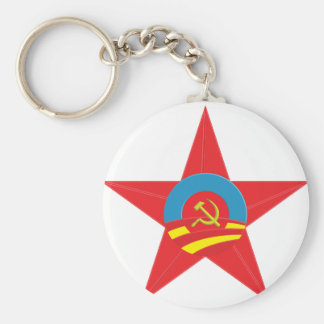 Estrella comunista de Obama Llavero Redondo Tipo Pin
