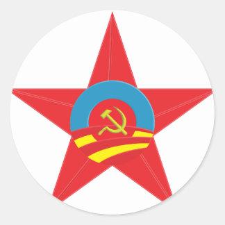 Estrella comunista de Obama Pegatina Redonda
