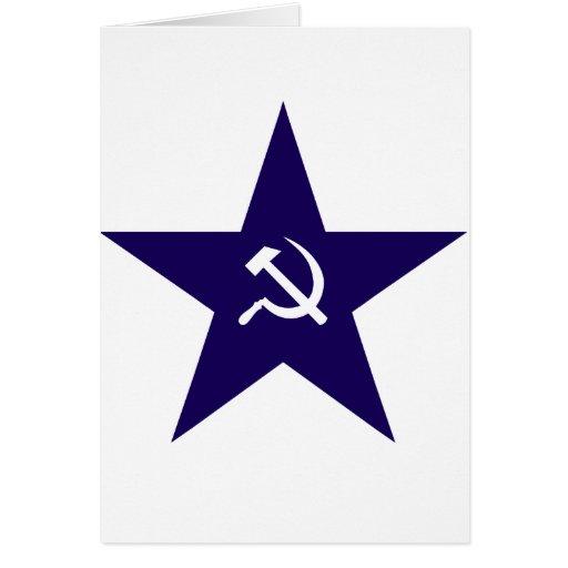 Estrella comunista tarjeta de felicitación