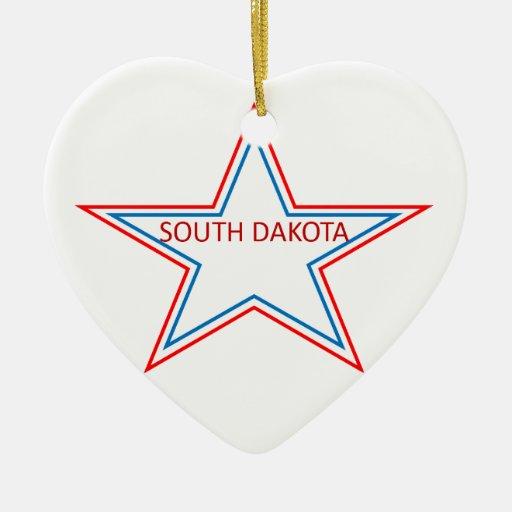 Estrella con Dakota del Sur en él Ornamentos De Navidad